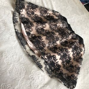 Express black and pink lace skirt